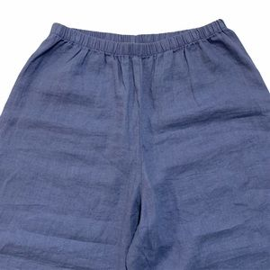 FLAX linen cropped, wide leg pants, blue, small